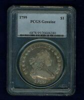 U.S. 1799 DRAPED BUST SILVER DOLLAR COIN LARGE EAGLE PCGS CERTIFIED
