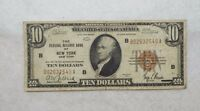 SERIES 1929 BROWN SEAL $10 FEDERAL RESERVE BANK NEW YORK NOTE FINE FR1860 B