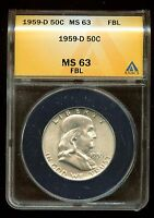 1959 D FRANKLIN HALF DOLLAR ANACS CERTIFIED   MS 63 FBL   3G680