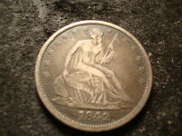 1842 VF XF SEATED  LIBERTY HALF  DECENT DEVICES COIN RNO