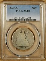 1872 CC PCGS AG03 SEATED HALF DOLLAR