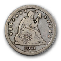 1841 25C LIBERTY SEATED QUARTER FINE VF PHILADELPHIA P MINT R989