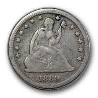 1889 25C LIBERTY SEATED QUARTER FINE F CLEANED LOW MINTAGE R990