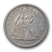 1863 50C LIBERTY SEATED HALF DOLLAR ABOUT UNCIRCULATED AU CIVIL WAR ERA R1007