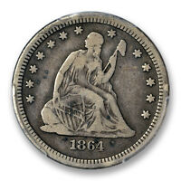 1864 S 25C LIBERTY SEATED QUARTER PCGS F 15 FINE TO VF KEY DATE