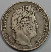 1846 BB FRANCE LOUIS PHILIPPE SILVER 5 FRANCS STRASBOURG MINT COIN 16052414R