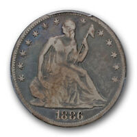 1886 50C LIBERTY SEATED HALF DOLLAR PCGS VG 10 GOOD TO FINE KEY DATE