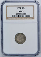 1884 THREE CENT PIECE   COPPER NICKEL 3CN NGC XF 45 EXTRA FINE TO AU
