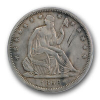 1866 S NO MOTTO LIBERTY SEATED HALF DOLLAR PCGS EXTRA FINE XF DETAILS KEY DATE