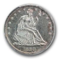 1880 50C LIBERTY SEATED HALF DOLLAR PCGS UNCIRCULATED DETAILS CLEANED