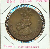 VINTAGE 1709 1909 200TH ANNIVERSARY OF SAN DIEGO MEDAL S668 SUPERIOR