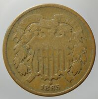 1865 TWO CENT PIECE VG CONDITION P37