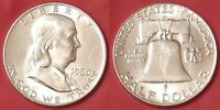 BRILLIANT UNCIRCULATED 1960D US FRANKLIN SILVER 50 CENTS FROM MINT'S ROLL