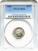 1888 3CN PCGS MS66   LOW MINTAGE DATE   3 CENT NICKEL   LOW MINTAGE DATE