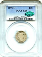 1895 O 10C PCGS/CAC GOOD 04   KEY DATE O MINT   BARBER DIME   KEY DATE O MINT