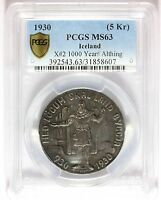 1930 ICELAND 5 KRONUR 1000 YEARS ALTHING SILVER COIN   PCGS MS 63   X2