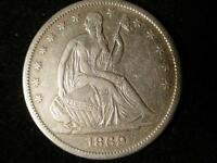 1869 S LEBERTY SEATED HALF DOLLAR XF TO AU