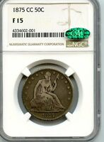 C7746  1875 CC SEATED LIBERTY HALF DOLLAR NGC F15