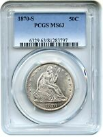 1870 S 50C PCGS MS63    S MINT   LIBERTY SEATED HALF DOLLAR