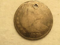 1806 DRAPED BUST HALF DOLLAR - HOLED - CLEAR DATE