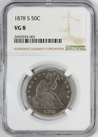 1878 S SEATED LIBERTY HALF DOLLAR NGC VG 8 GOOD SAN FRANCISCO KEY TO THE SE