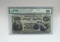 5105 SERIES 1882 LRGE SIZE $10 WELLS FARGO NV NAT BANK SF NOTE PMG 30 VF FR545