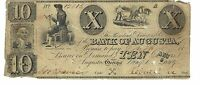 GEORGIA AUGUSTA BANK $10 1849 ISSUED SIGNED CUT CANCEL OBSOLETE CURRENCY  12015
