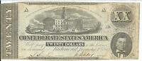 CSA 1862 CONFEDERATE CURRENCY T51 $20 89108 CAPITAL NASHVILLE CR366 1ST SERIES
