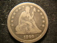 1890  VG F  FULL DATE SEATED LIBERTY QUARTER DECENT COIN NH