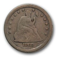 1868 S 25C LIBERTY SEATED QUARTER FINE F CLEANED COIN R1253