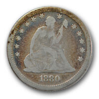 1880 25C LIBERTY SEATED QUARTER G GOOD LOW MINTAGE TOUGH SCRATCH R1258