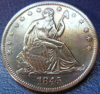 1845 SEATED LIBERTY HALF DOLLAR EXTRA FINE XF US COIN CLEANED 10227