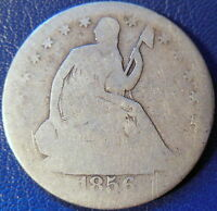 1856 S SEATED LIBERTY HALF DOLLAR GOOD G KEY DATE 10607