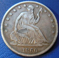 1860 S SEATED LIBERTY HALF DOLLAR EXTRA FINE TO ABOUT UNCIRCULATED COIN 8195