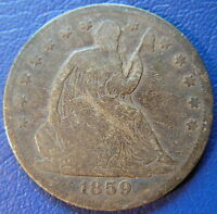 1859 S SEATED LIBERTY HALF DOLLAR GOOD VG US 50C SAN FRANCISCO COIN 6155