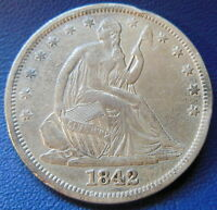 1842 HALF DOLLAR SEATED LIBERTY REPUNCHED DATE WB 105 EXTRA FINE XF RPD 6789