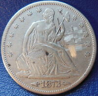 1873 S SEATED LIBERTY HALF DOLLAR FINE VF US COIN SCRATCHED 10254