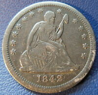 1842 O SEATED LIBERTY QUARTER EXTRA FINE XF BETTER DATE DARK TONED US COIN 7019