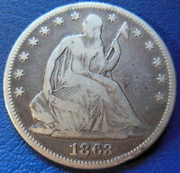 1863 SEATED LIBERTY HALF DOLLAR FINE VF PHILADELPHIA P MINT US COIN 8200