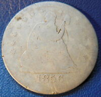 1856 S SEATED LIBERTY QUARTER GOOD G KEY DATE US COIN SAN FRANCISCO MINT 8674