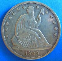1863 CIVIL WAR ERA SEATED LIBERTY HALF DOLLAR ABOUT UNCIRCULATED / MS 2816