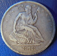 1848 O SEATED LIBERTY HALF DOLLAR EXTRA FINE XF ORIGINAL TONED US COIN 10064