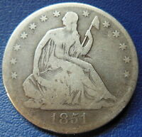 1851 O SEATED LIBERTY HALF DOLLAR NEW GOOD VG NEW ORLEANS US COIN 7327