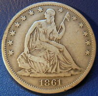 1861 S SEATED LIBERTY HALF DOLLAR FINE TO EXTRA FINE TONED US COIN 6970