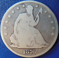 1876 CC HALF DOLLAR SEATED LIBERTY GOOD VG US COIN SMALL CC 10477
