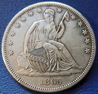 1865 S SEATED LIBERTY HALF DOLLAR ABOUT UNCIRCULATED AU DAMAGED US COIN 7665