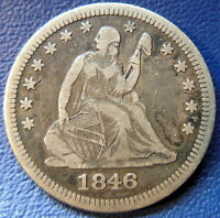 1846 QUARTER SEATED LIBERTY FINE TO EXTRA FINE TONED ORIGINAL US COIN 7138