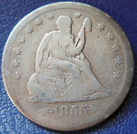 1855 O SEATED LIBERTY QUARTER FINE TO FINE BETTER DATE NEW ORLEANS 9941