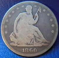 1860 SEATED LIBERTY HALF DOLLAR GOOD VG BETTER DATE US COIN ORIGINAL 9719