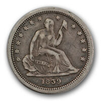 1839 25C NO DRAPERY LIBERTY SEATED QUARTER EXTRA FINE XF ORIGINAL R1326
